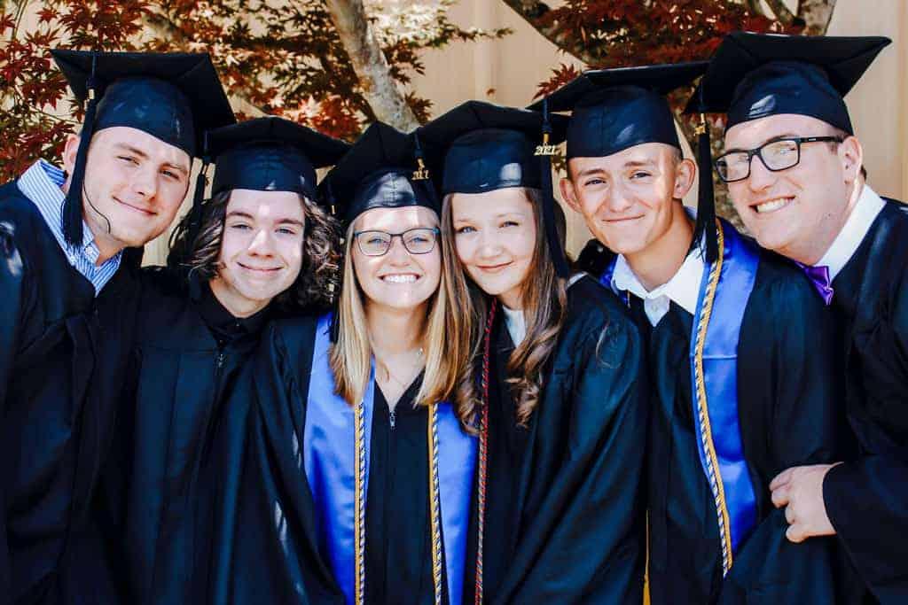Group of smiling graduates